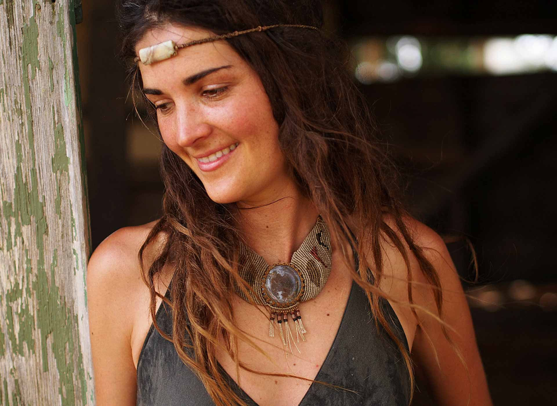 The Ai & The Fly Moon Phases Necklace and Anazonite Headpiece